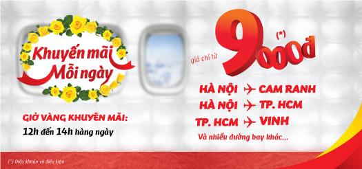 Vietjet khuyến mãi mỗi ngày vé 9K
