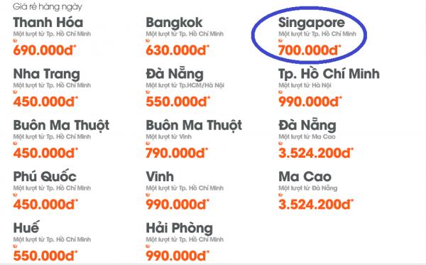 Hình ảnh Jetstar khuyến mãi vé đi Singapore 700k
