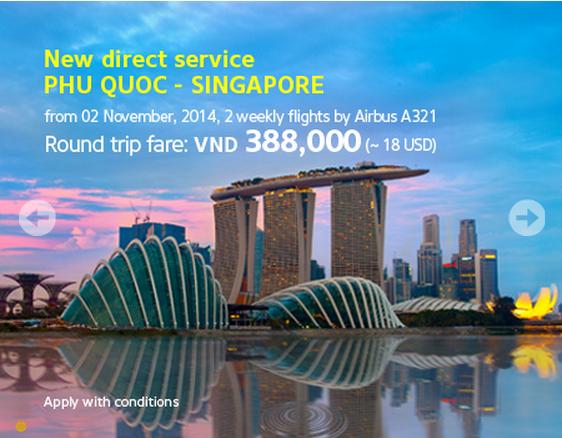 Hình ảnh Vietnam Airlines khuyến mãi vé khứ hồi đi Singapore 18 USD