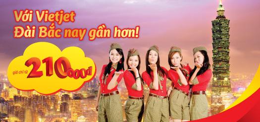 Hình ảnh Vietjet khuyến mãi vé đi Đài Bắc giá chỉ 210.000