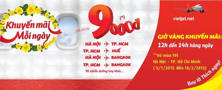 Hình ảnh Vietjet khuyến mãi vé máy bay giá rẻ 9k