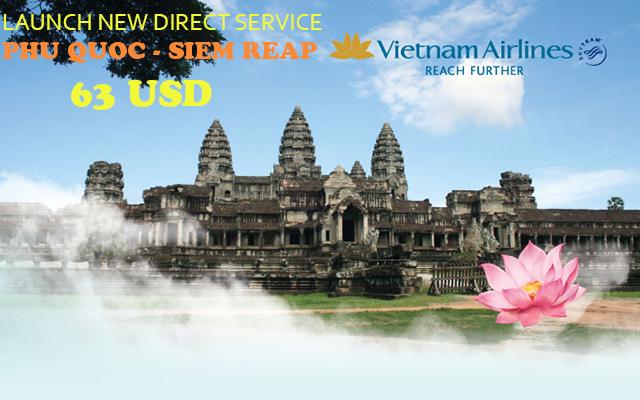 Hình ảnh Vietnam Airlines khuyến mãi vé khứ hồi đi Siem Reap 63 USD