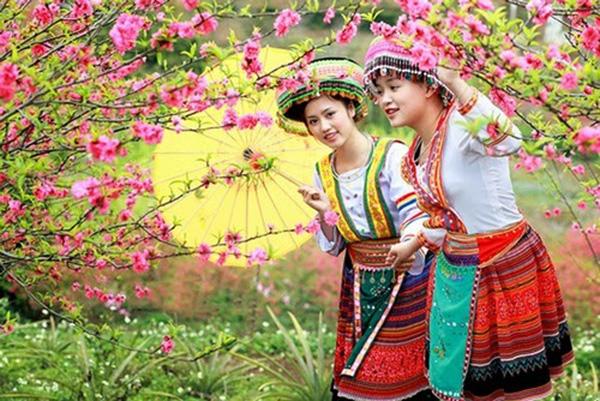 Những cô gái Sapa bên những cây đào thắm đỏ